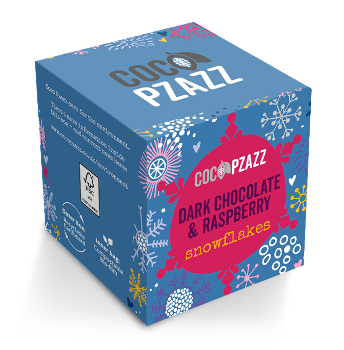 Coco Pzazz Dark Chocolate Raspberry Snowflakes