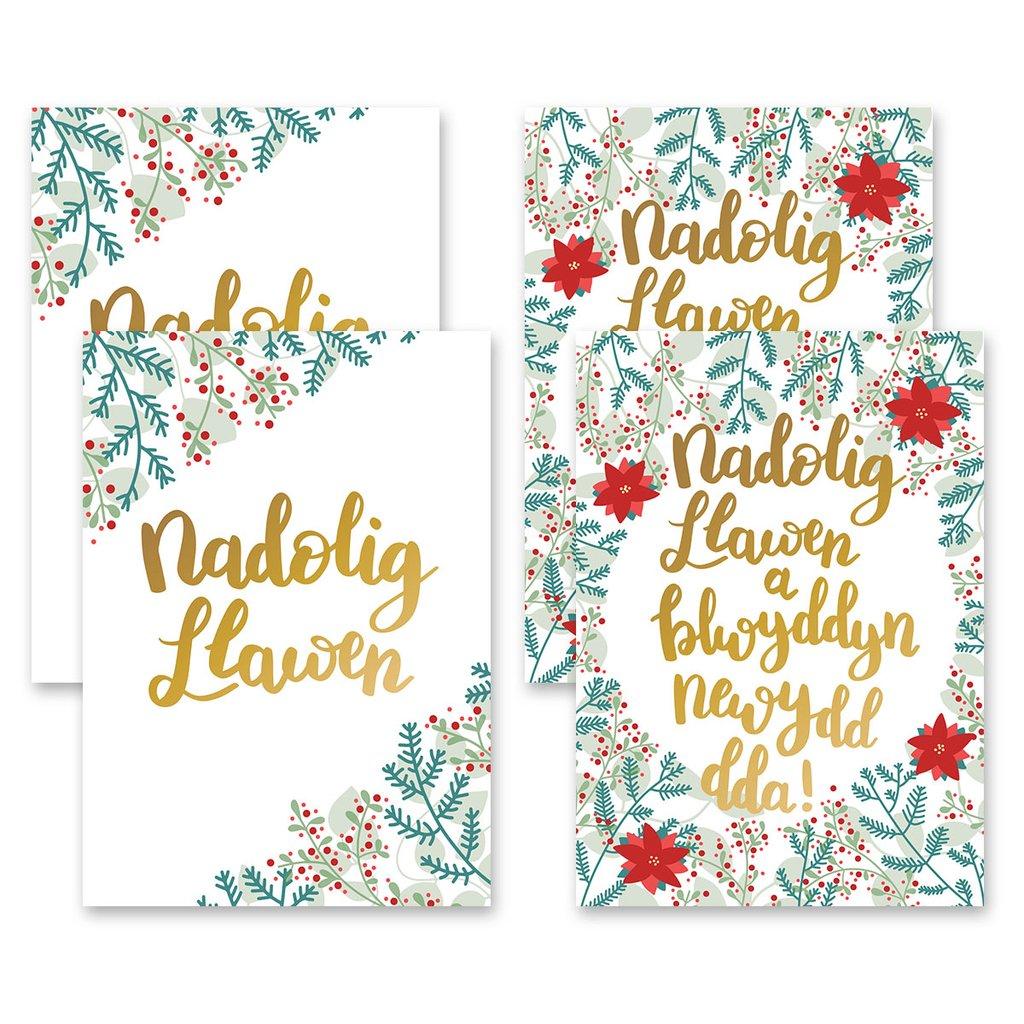 Nadolig Llawen Welsh Christmas Card Set of 6
