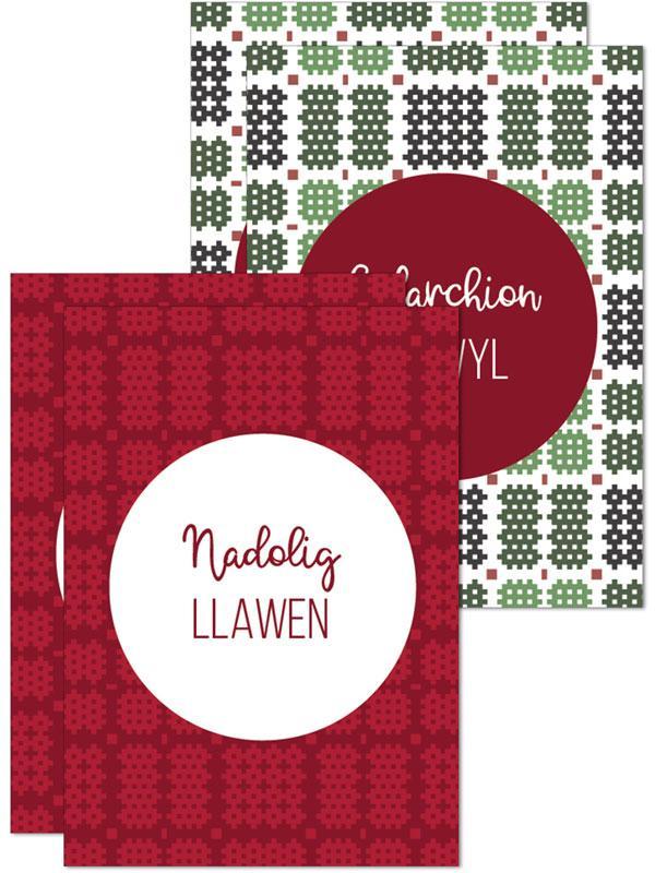 Nadolig Llawen / Cyfarchion yr Ŵyl pack of 4 mini cards - Red