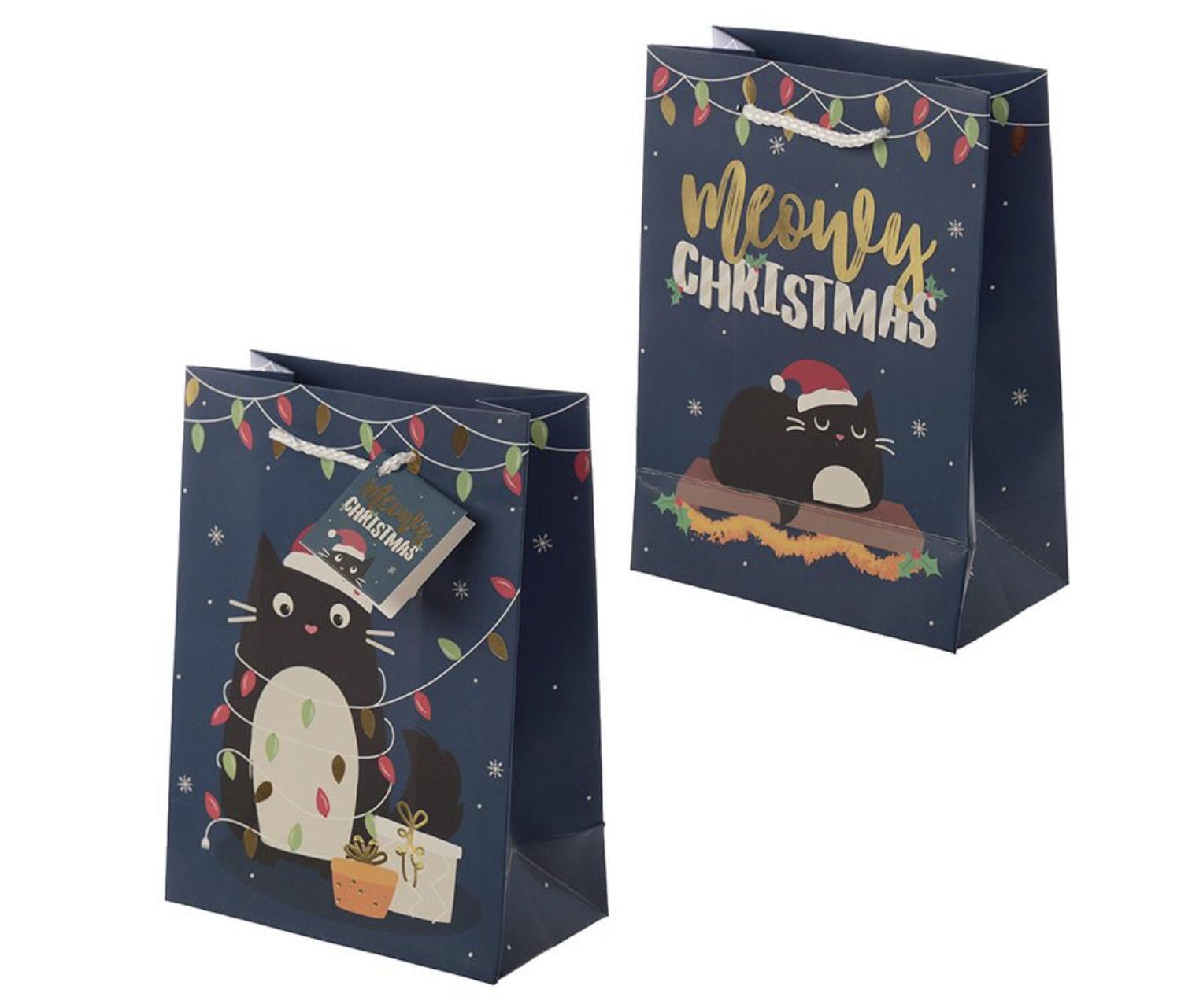 Christmas Cat medium Gift Bag