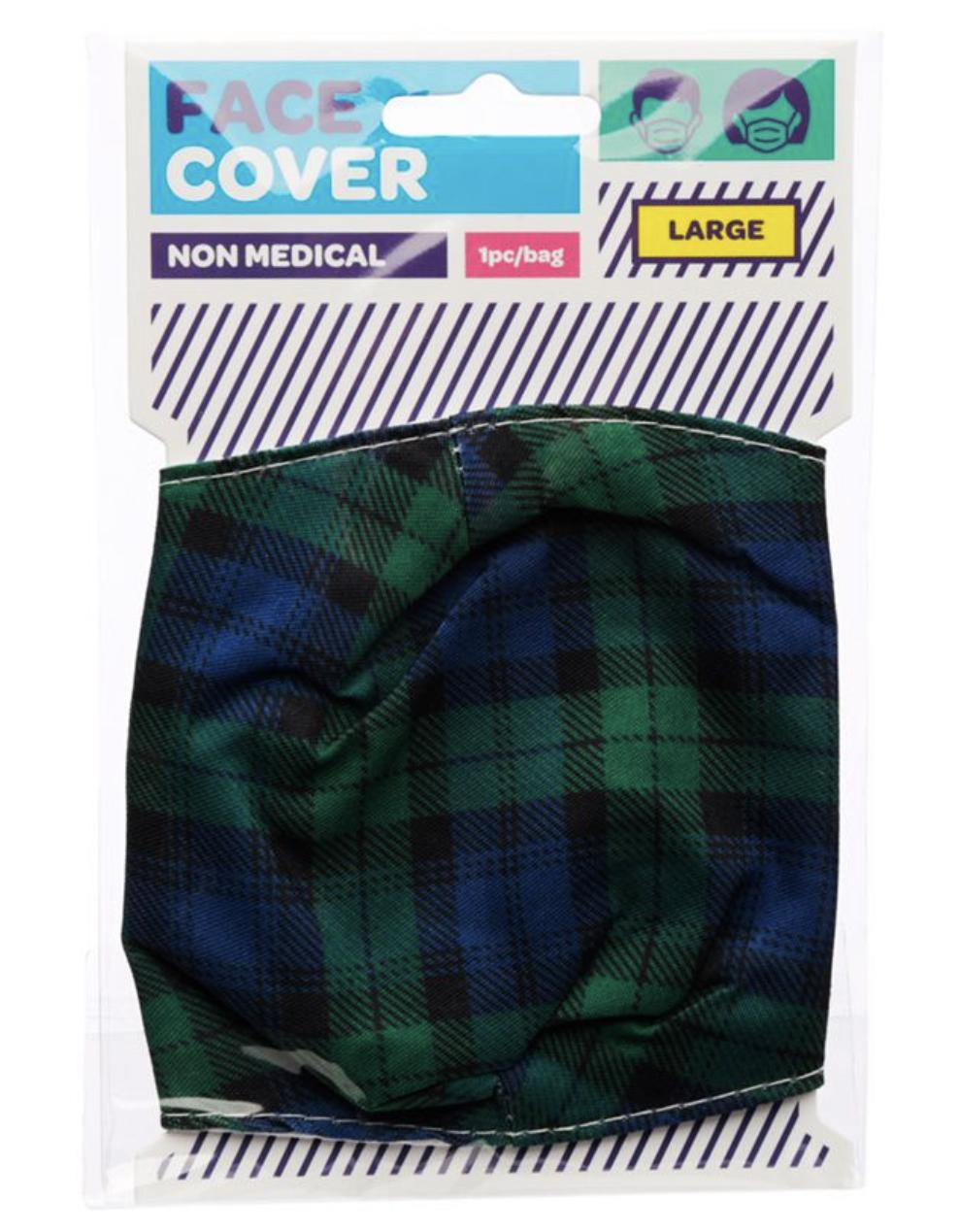 Green and Blue Tartan Reusable Face Covering