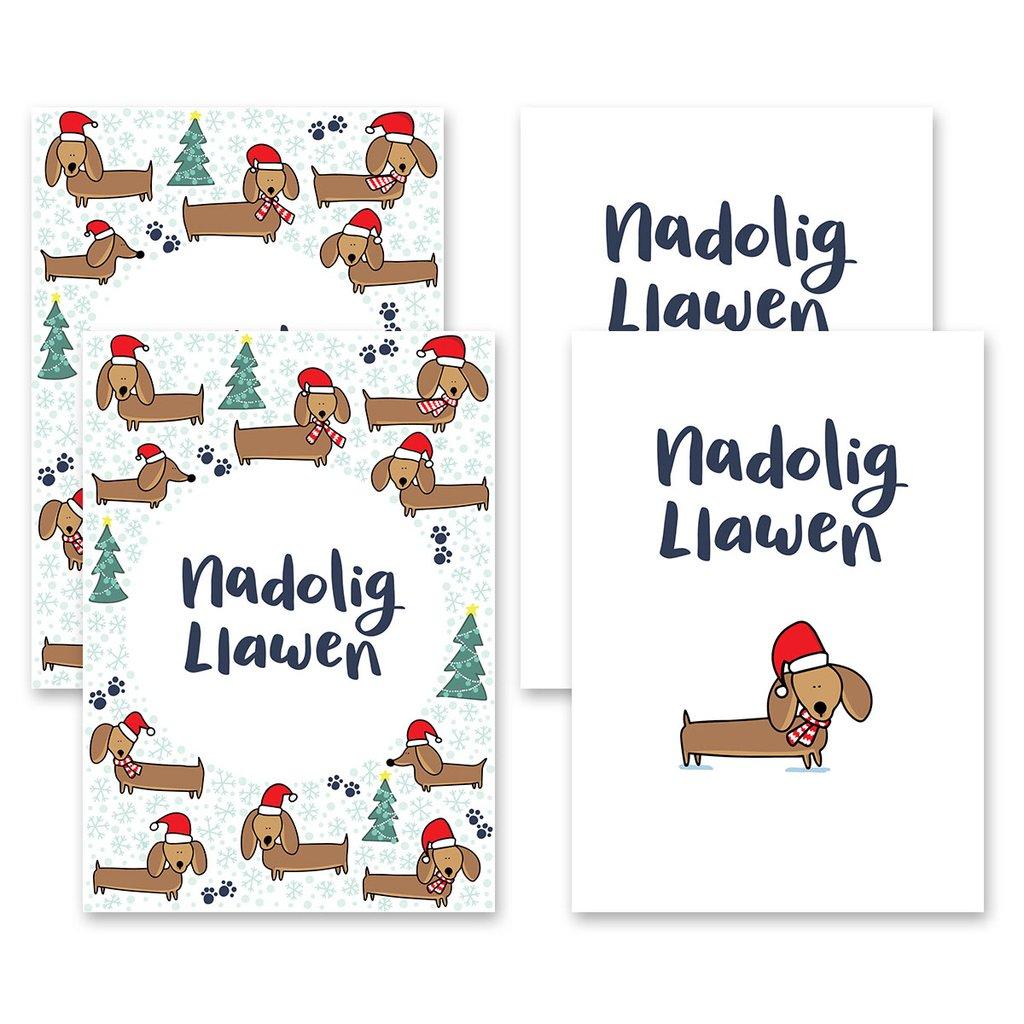 Nadolig Llawen Welsh Christmas Card Set of 6 - Dachshunds