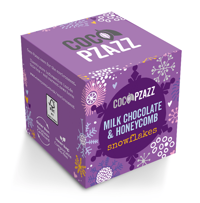 Coco Pzazz Milk Chocolate Honeycomb Snowflakes