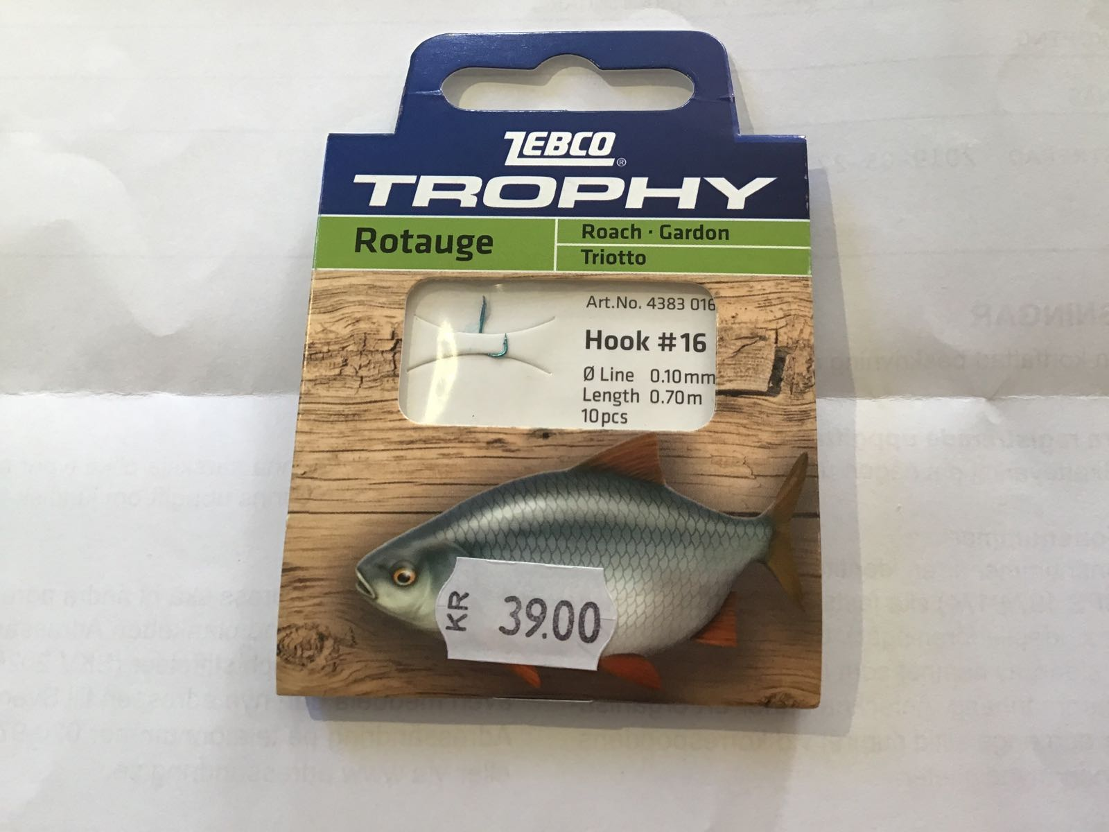 Zebco trophy roach hook-to-nylon #16