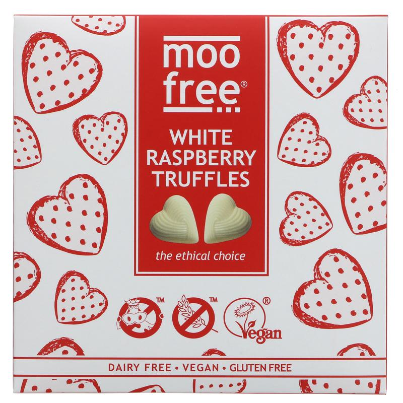 Moo Free - White Chocolate & Raspberry Truffles