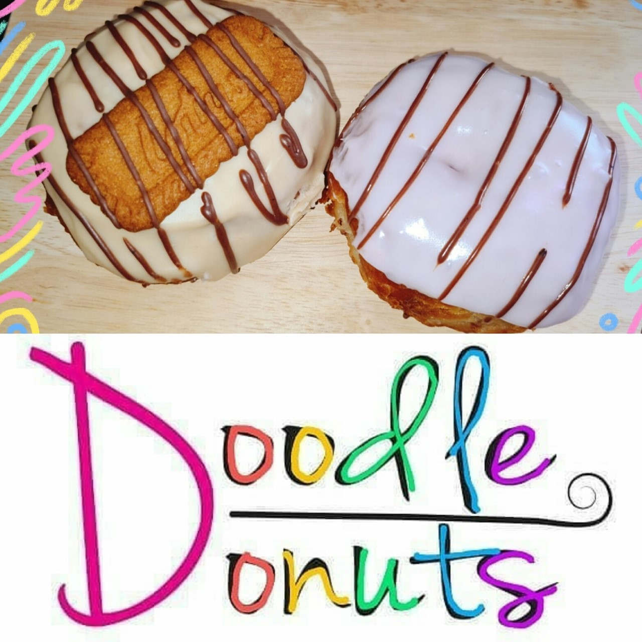 Doodle Donuts - Box of 2 Fried Donuts PRE-ORDER FOR WEDS 20 & THURS 21 JAN