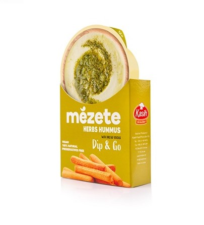 Mezete - Herb Hummus with Bread Sticks