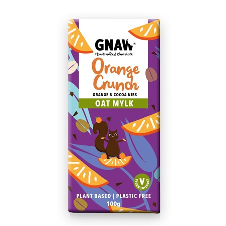 Gnaw - Orange Crunch Oat Mylk Chocolate Bar (100g)