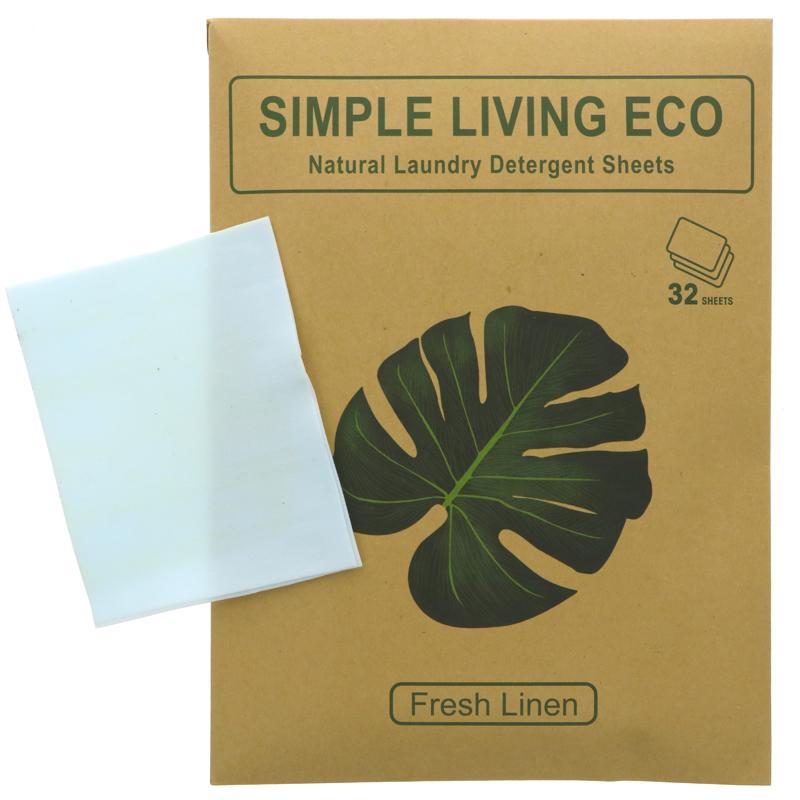 Simple Living Eco Laundry Detergent Sheets - Fresh Linen Scent (32 sheets)