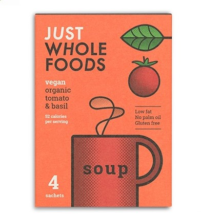Just Wholefoods - Tomato & Basil Soup (4 sachets)
