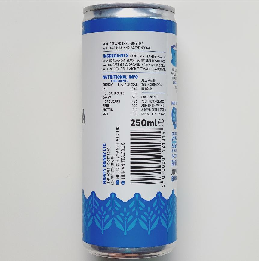 HumaniTea - Earl Grey Oat Milk Green Tea Latte (single) £1.99 INTRO PRICE (RRP £2.49)