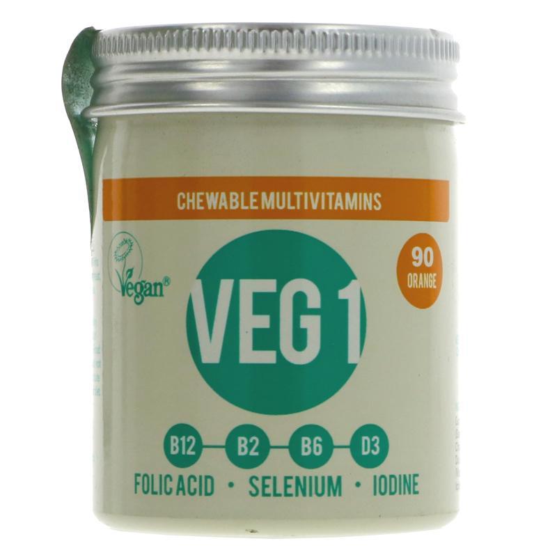 Vegan Society - VEG1 Vitamin Tablets Orange