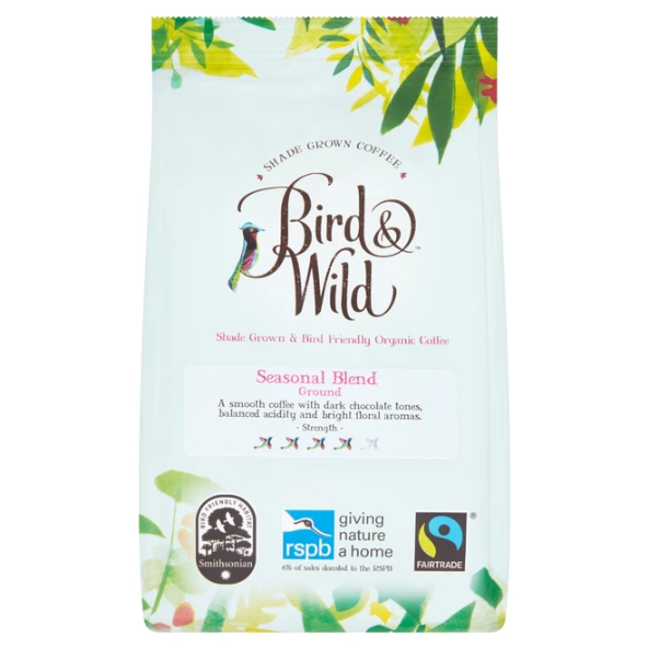 Bird & Wild - Medium Roast, Fairtrade Organic Shade Grown Bird Friendly Ground Coffee, Strength 3 (200g)