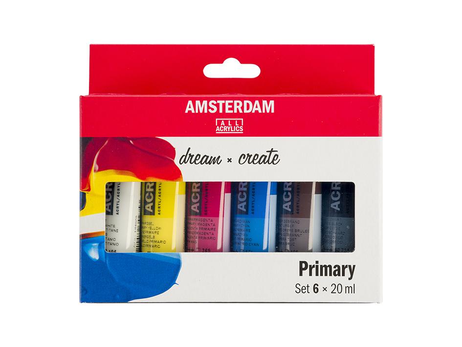 Malingspakke Amsterdam, Primary 20ml – Sett 6 stk Primærfarger