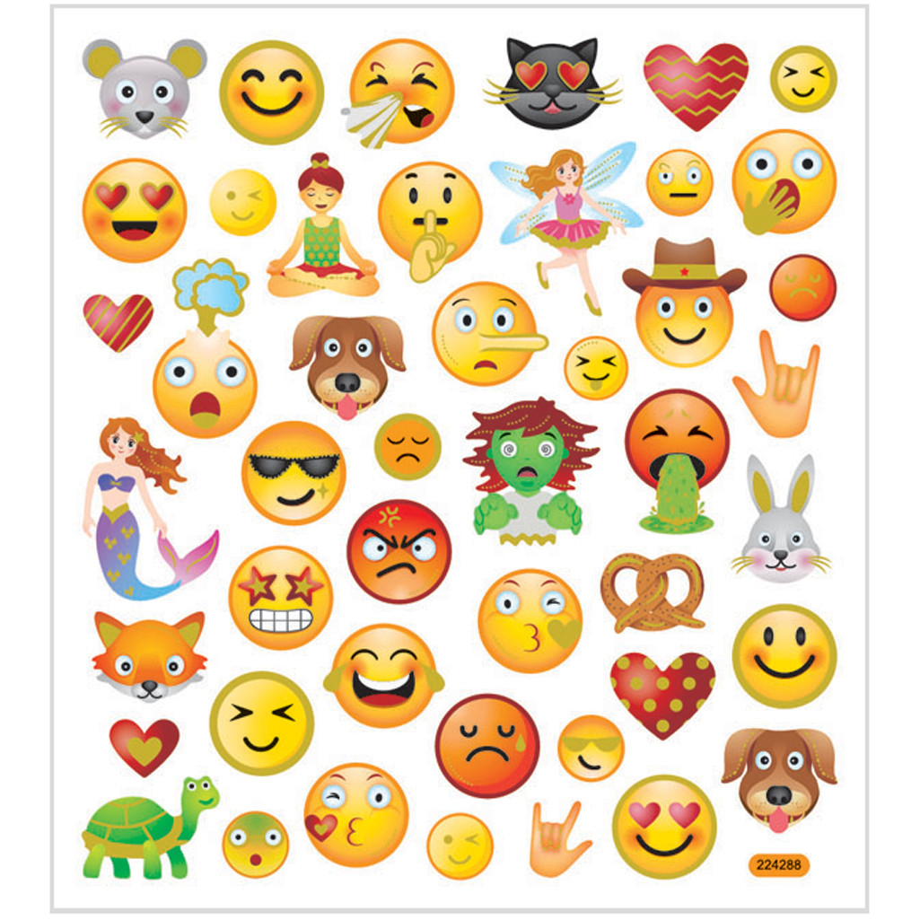 Emojis klistremerker, 15x16,5 cm, 1 Ark