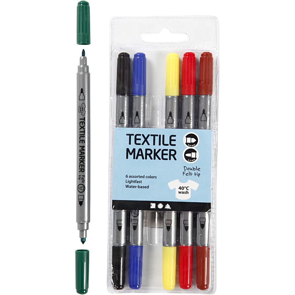 Tekstiltusjer 6 stk, standardfarger