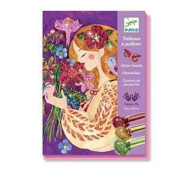 Fargelegging med glitter, blomster - Djeco