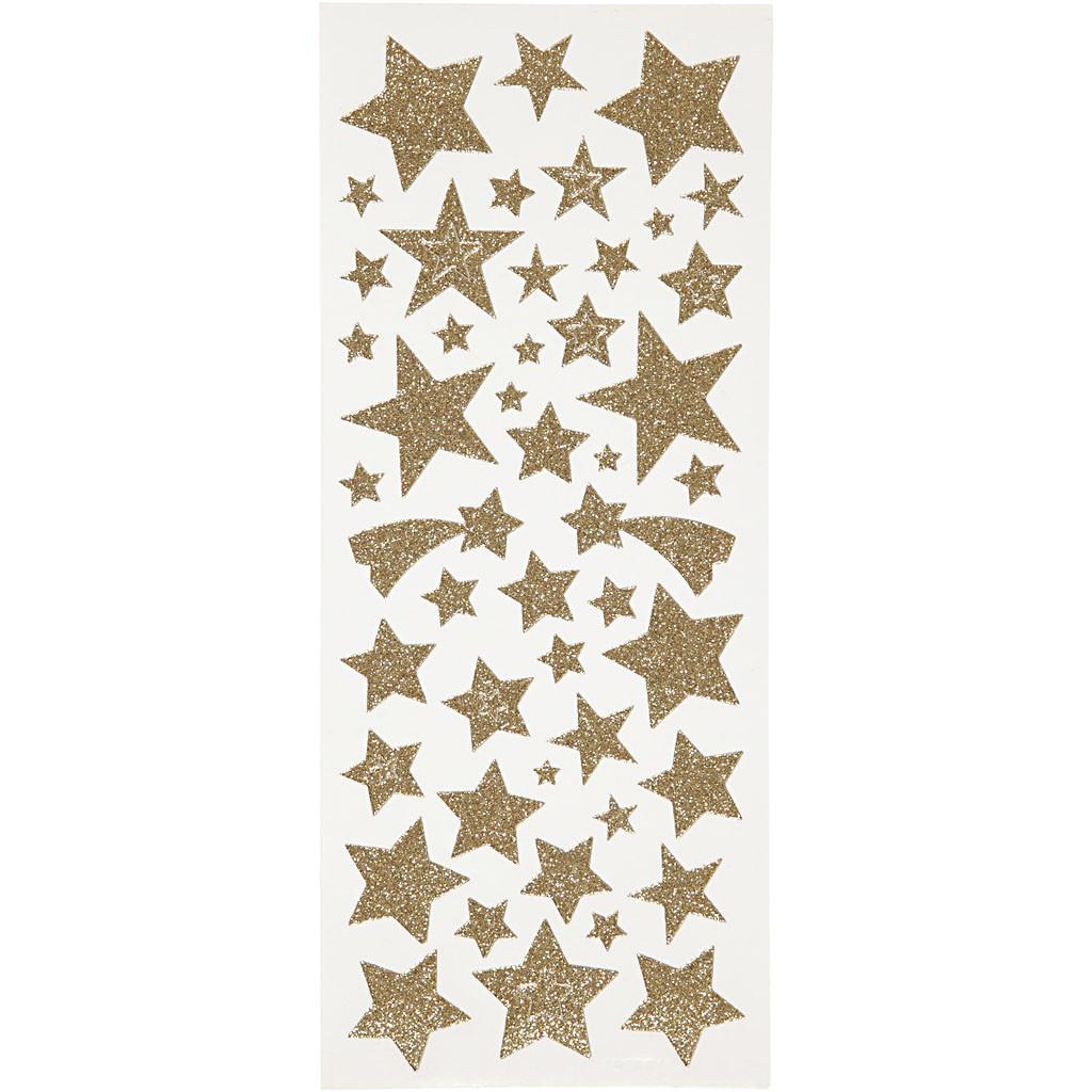 Glitterstickers, Stjerner, 10x24 cm, Gull, 2 Ark, 1 Pk.