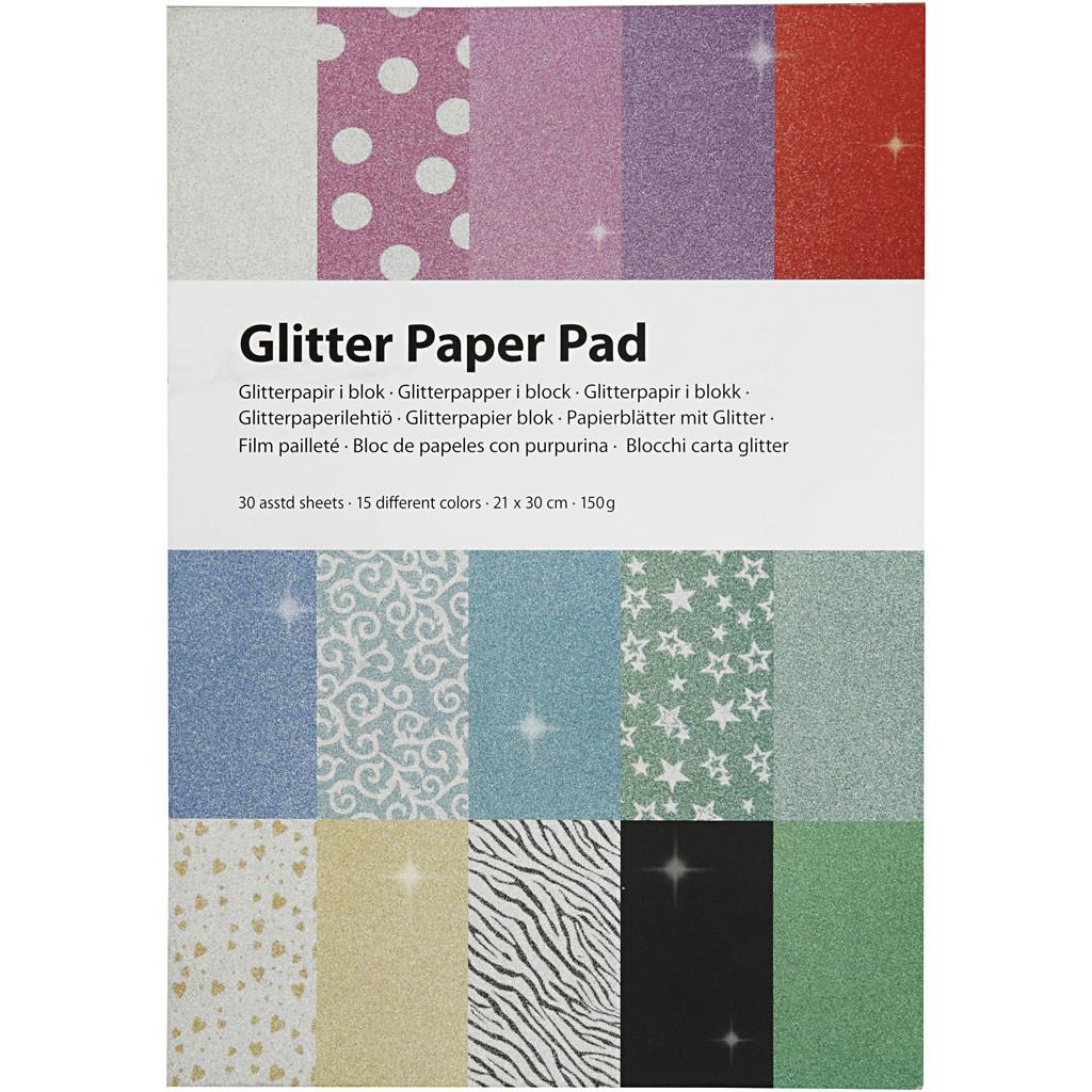 Glitterpapir i blokk, A4, 210x297 mm, 150 g, 30 Ark, 1 Stk.