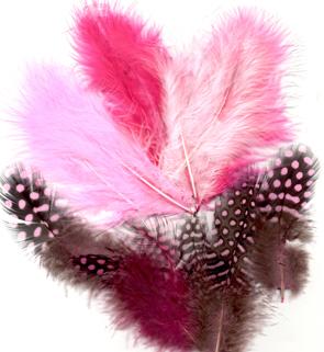 Fjærmix, 18 stk Rosa
