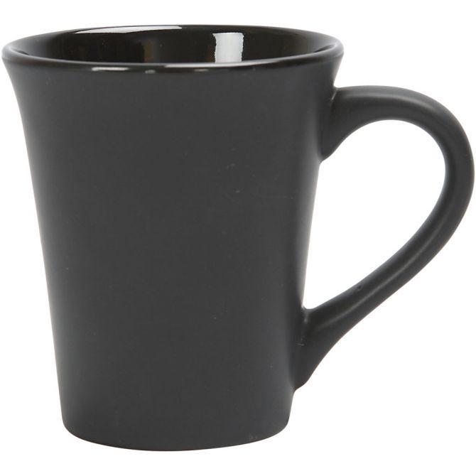Krus, H: 10 cm, dia. 5,9-8,7 cm, svart, 1 stk.