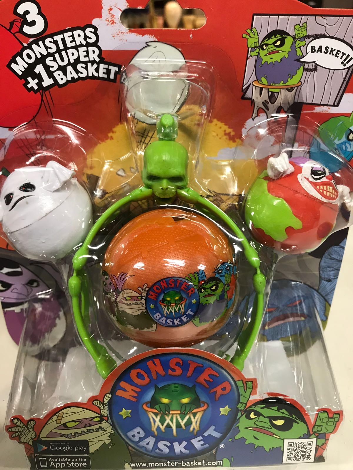 3 Monster + 1 superbasketkorg med boll