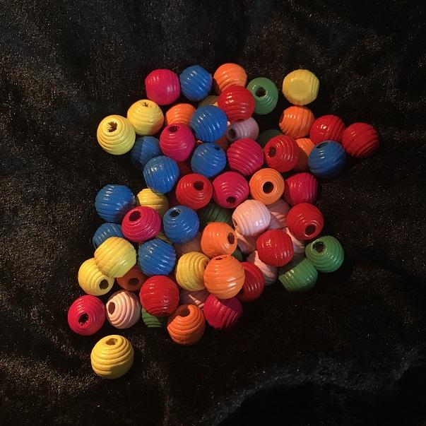 Träpärlor, mix färgade*