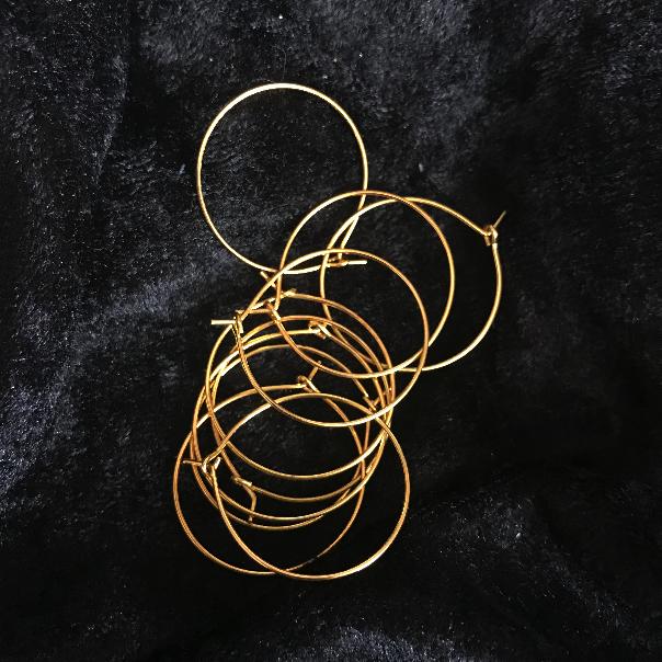 Creolringar 25mm, guld, 5 par