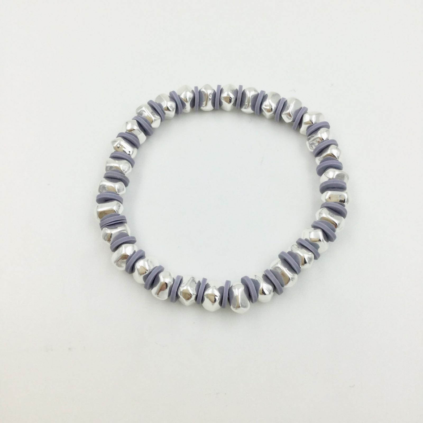 Elasticated Pebble Bracelet - Silver