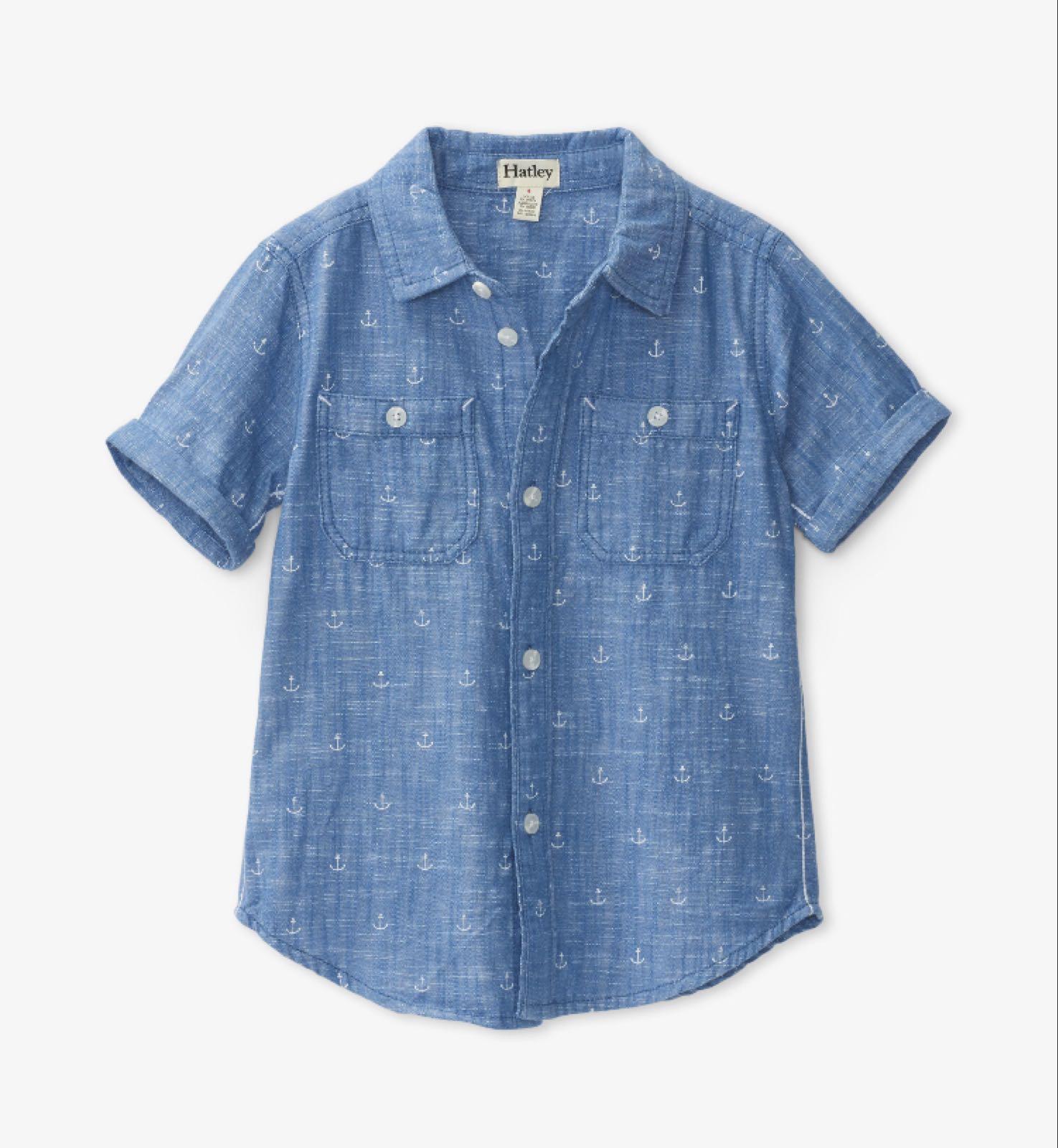 Hatley Chambray Anchors Short Sleeve Button Down Shirt