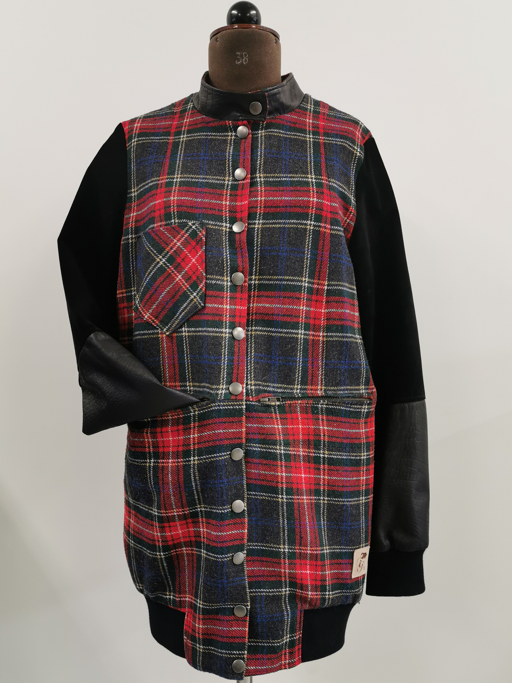 Checked leahther jacket