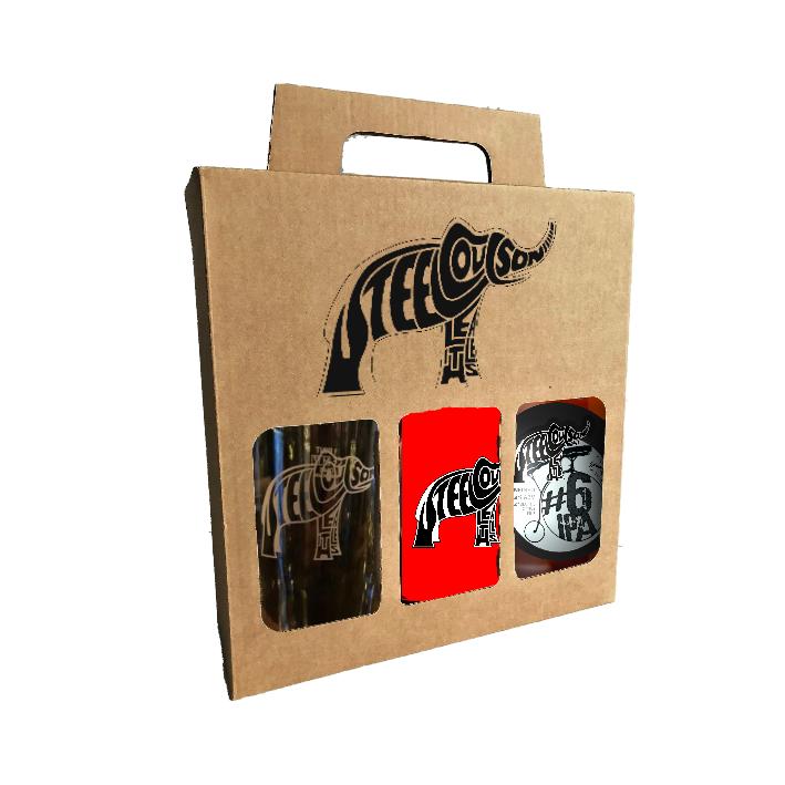 Steel Coulson bottle, glass & t-shirt gift box
