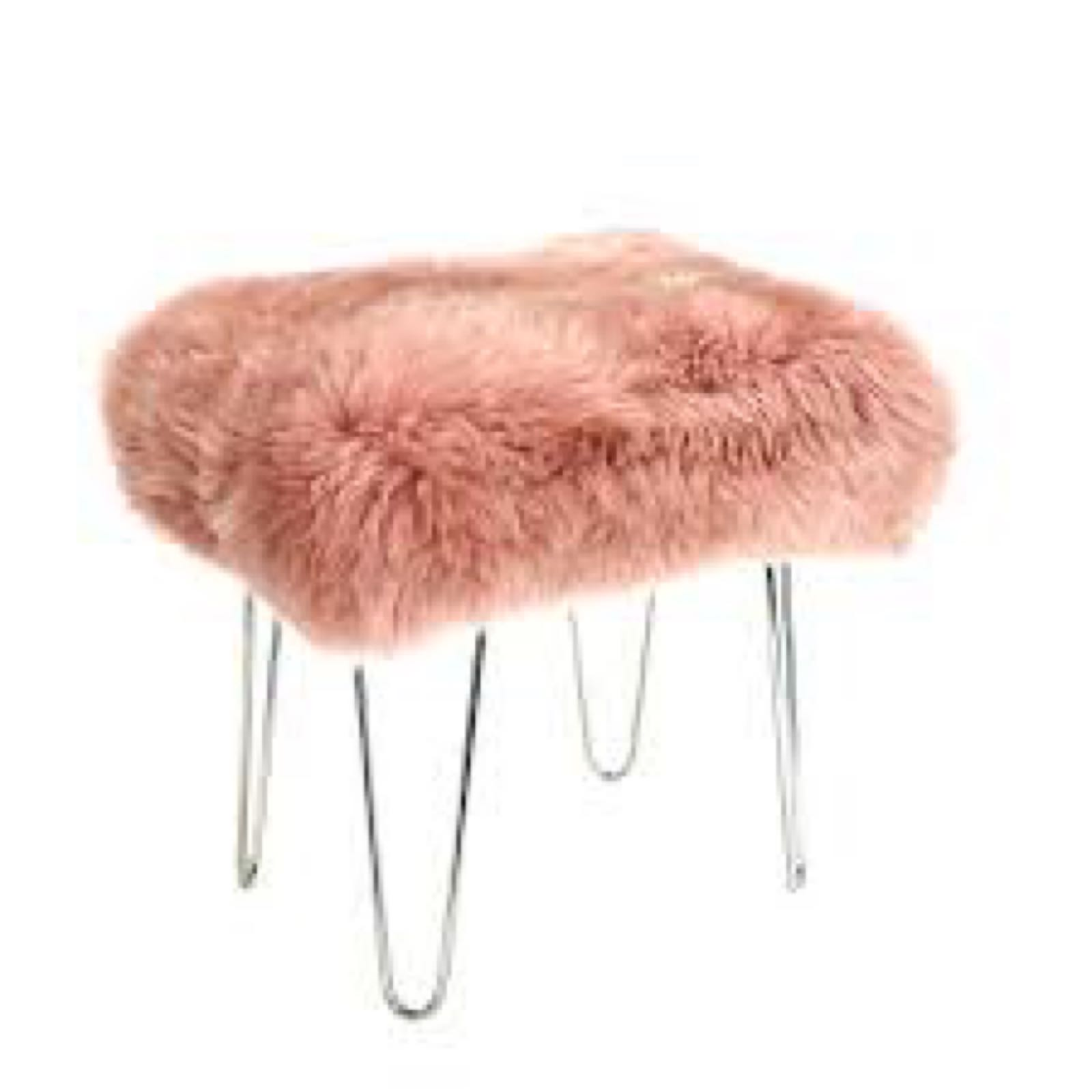 Baa Stool Zahra in dusky pink with chrome legs 50cm x 40cm x45cm high