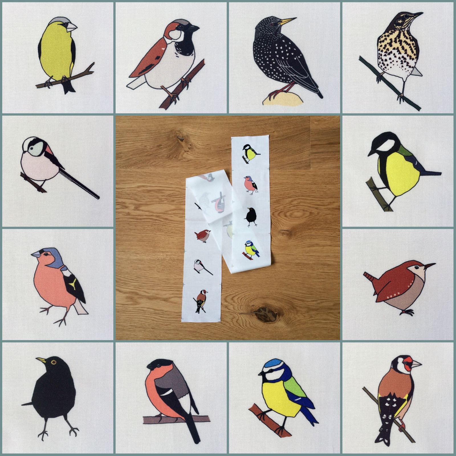12 Garden birds fabric strip