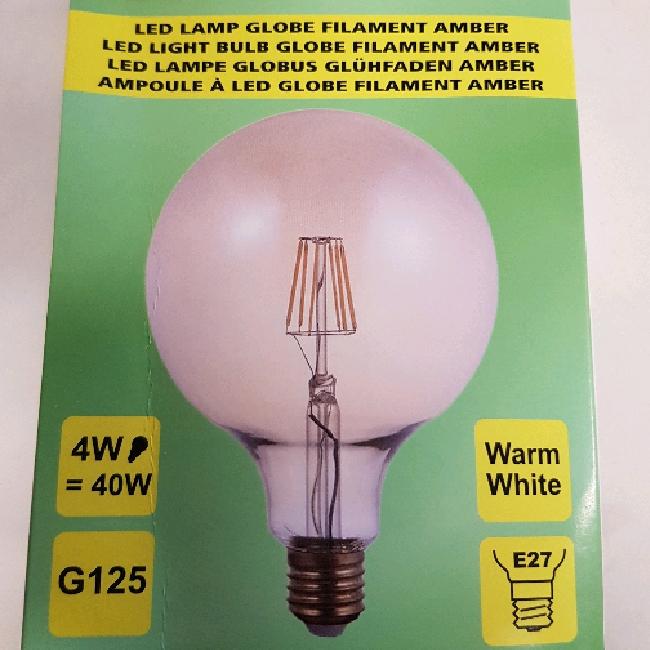 Led lampa stor 4w g125 amber