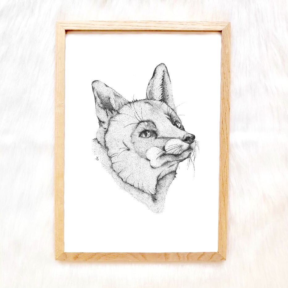 Pointillism Fox Art Print