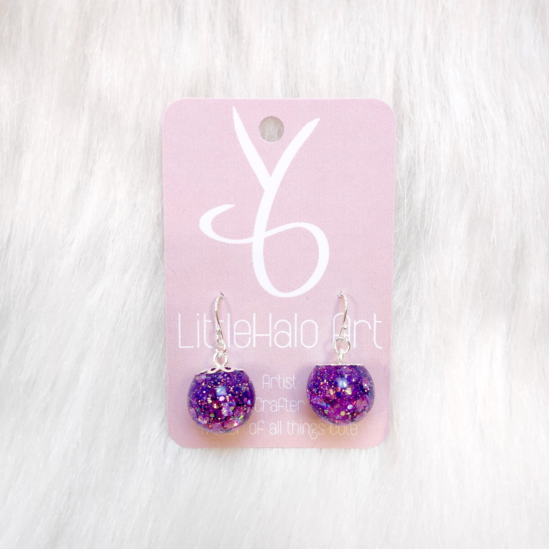 Purple Glitter Earrings