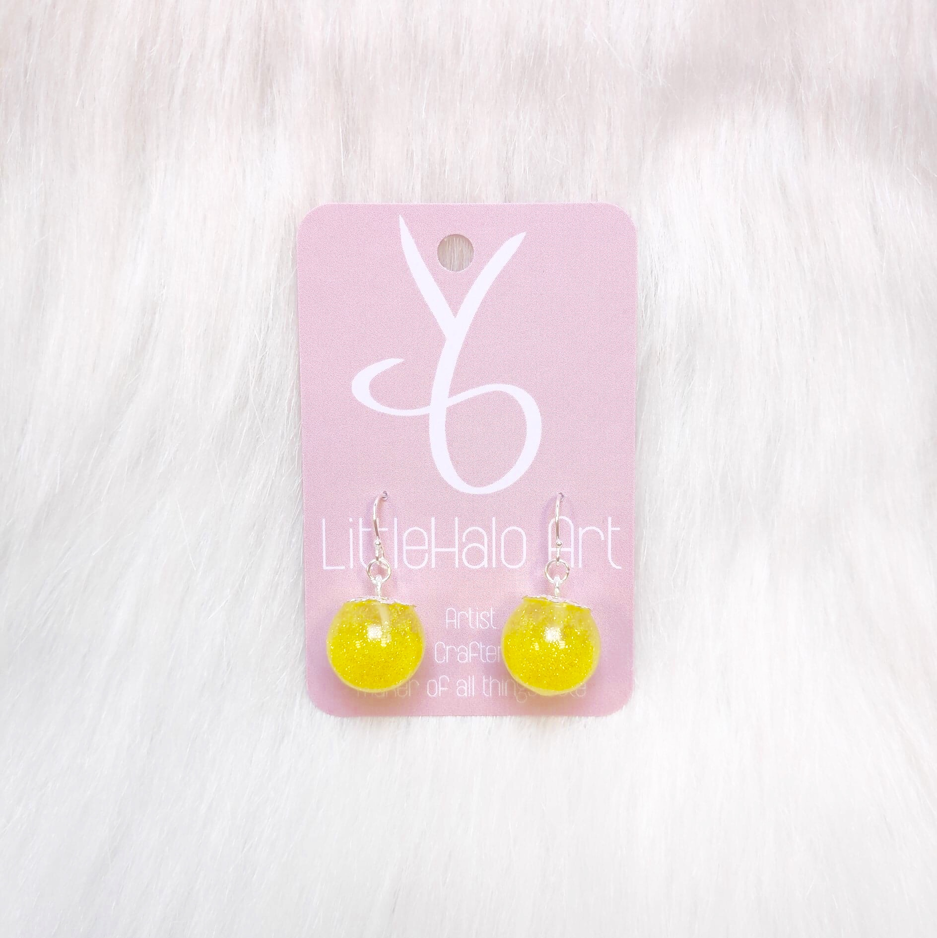 Yellow Glitter Earrings