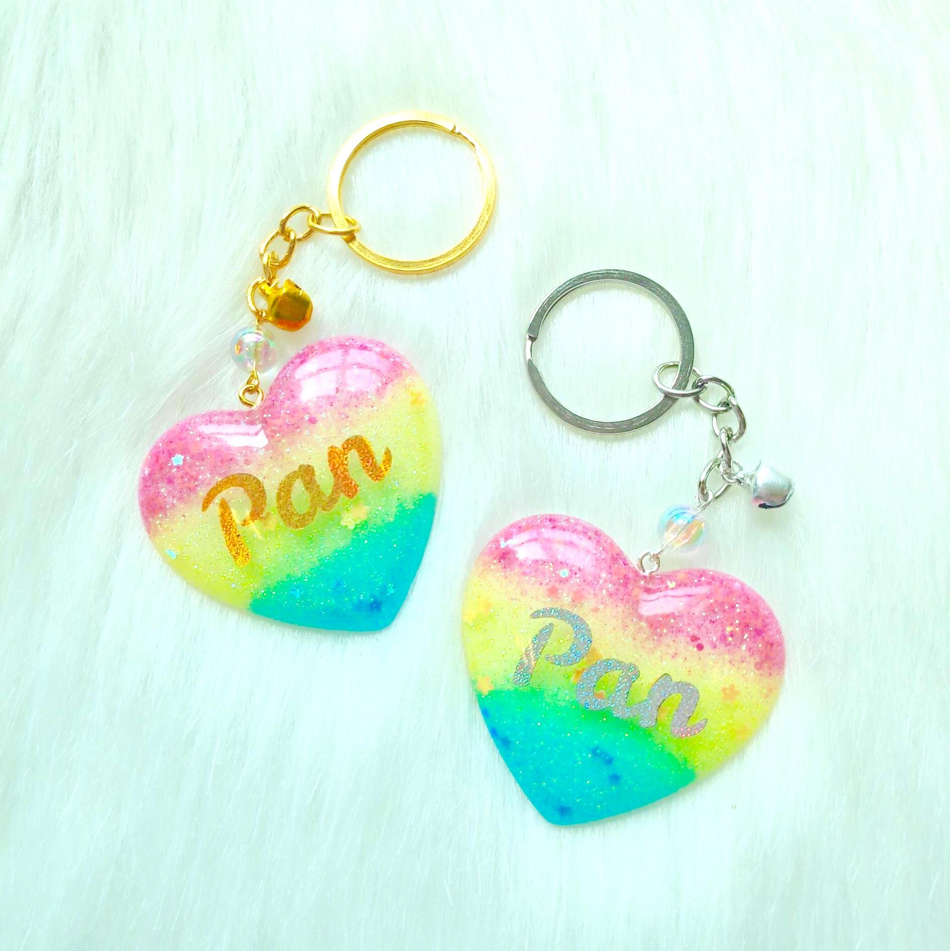 Pride Heart Keychain - Pansexual