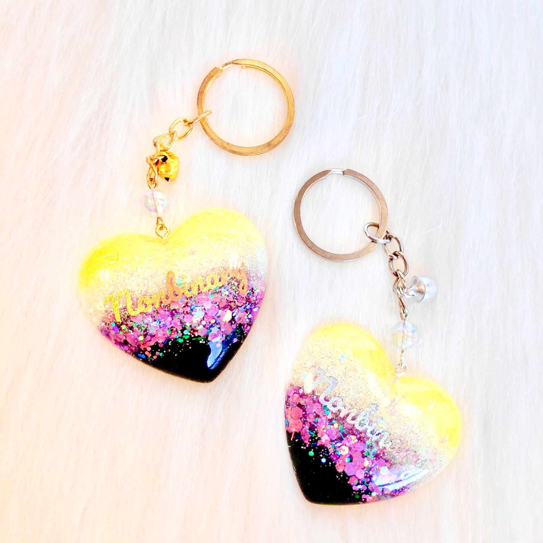 Pride Heart Keychain - Nonbinary