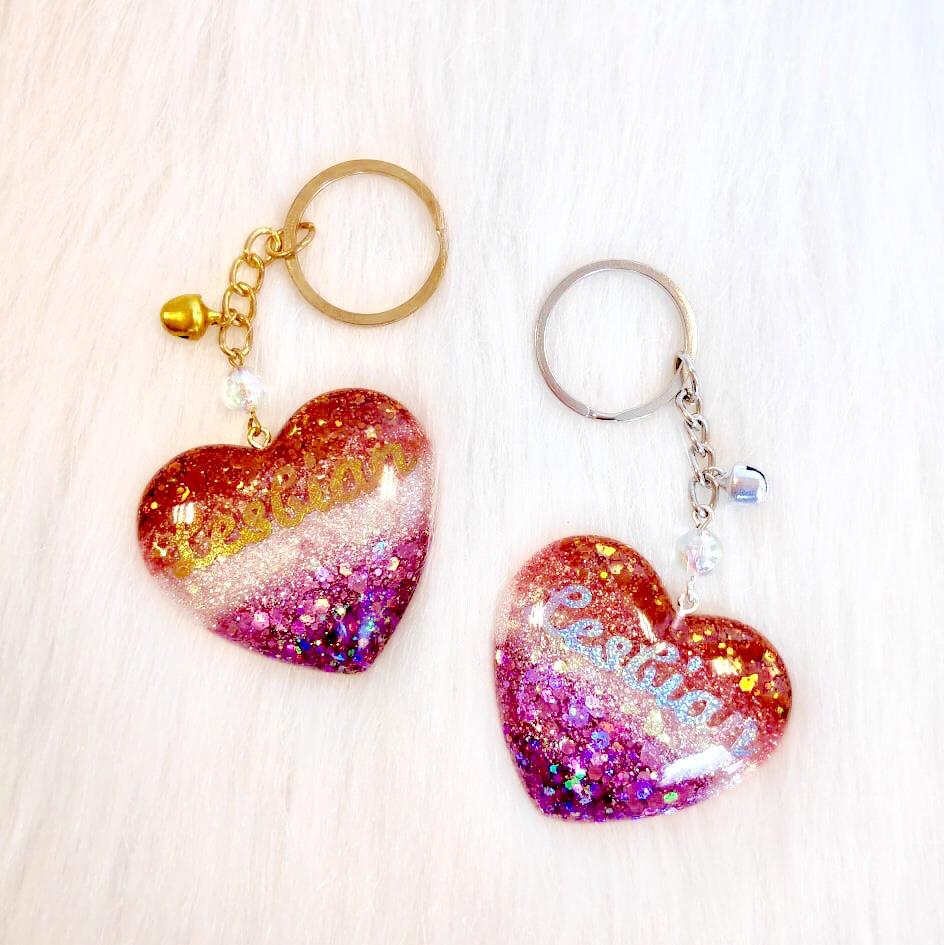 Pride Heart Keychain - Lesbian