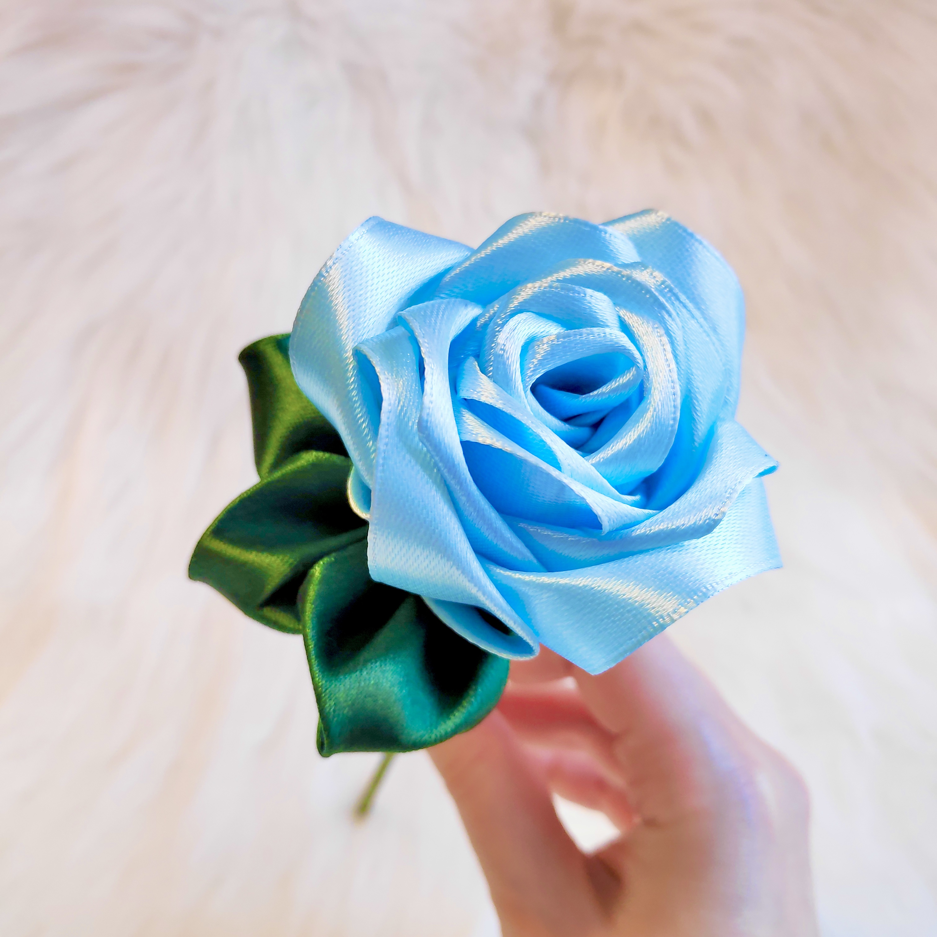 Pastel Blue Satin Rose