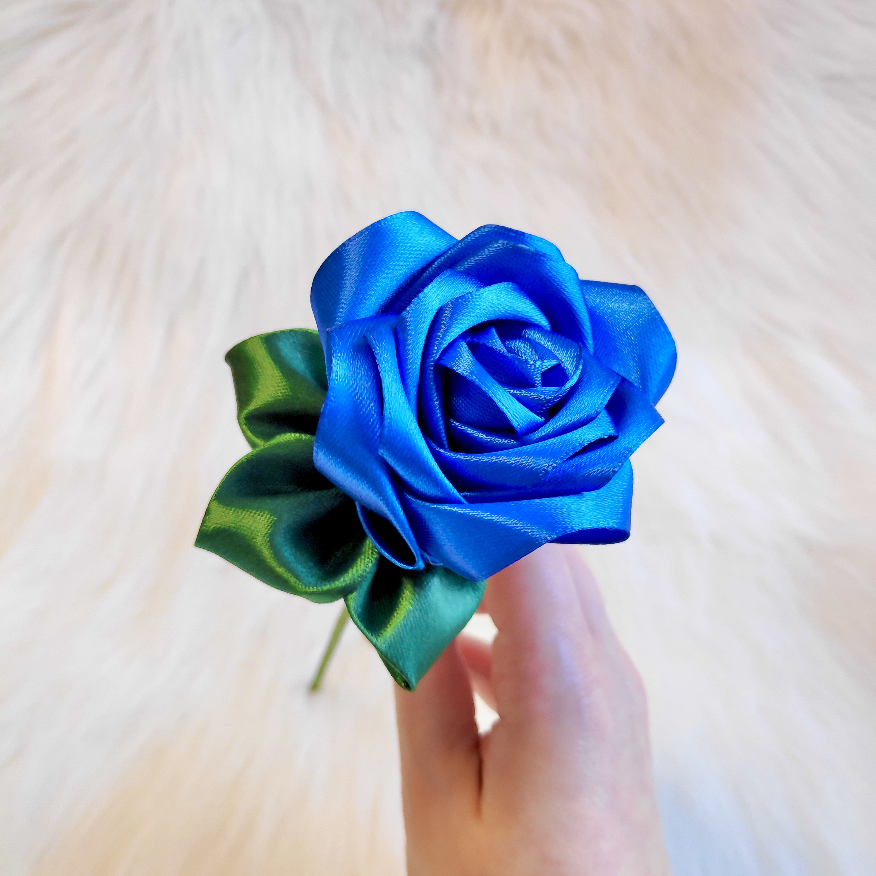 Dark Blue Satin Rose