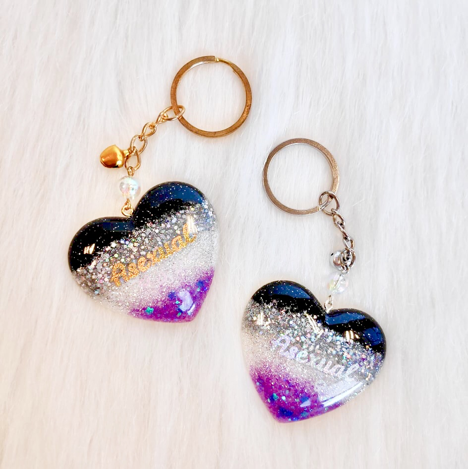 Pride Heart Keychain - Asexual