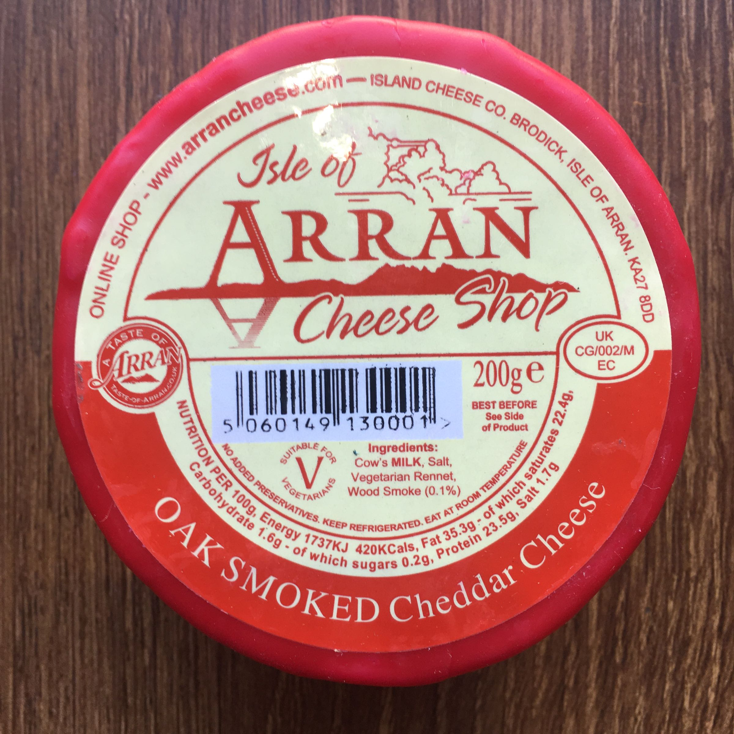 Oak Smoked Arran Waxed Cheese