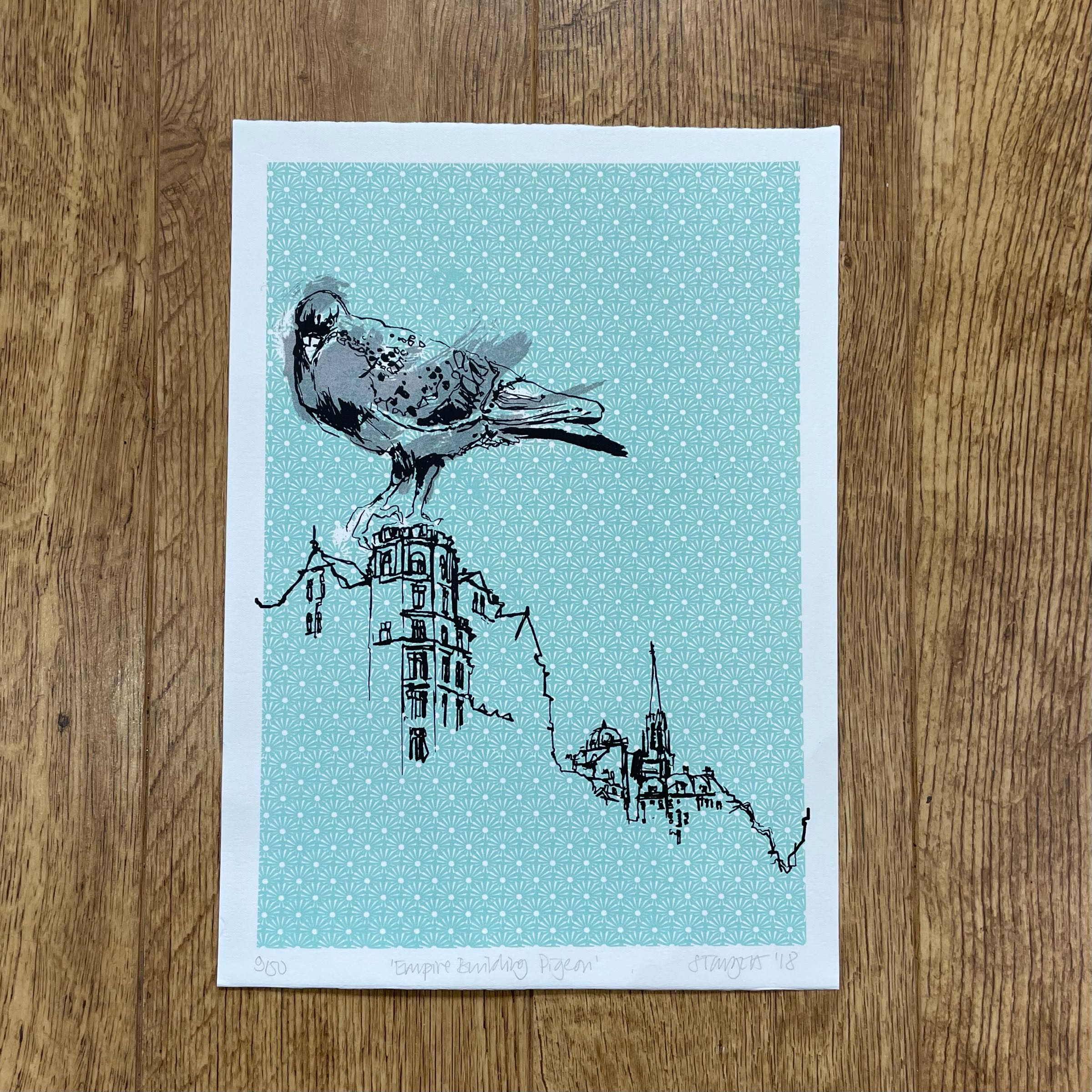 'Empire Building Pigeon' Silkscreen print by Sarah Targett