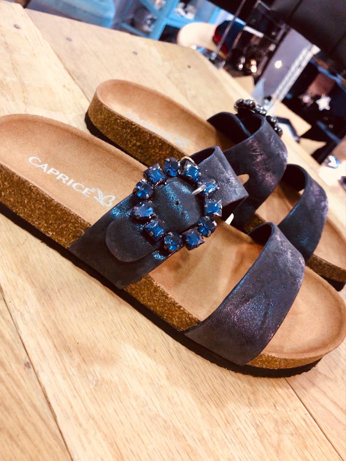 Caprice Ocean Blue Leather Suede Diamanté Buckle Sandal