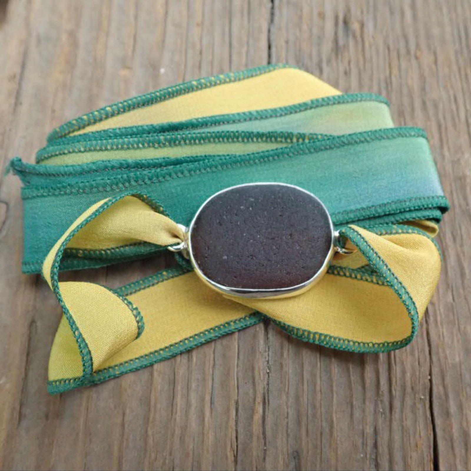 Eco-silver Brown Seaham Sea Glass Boho Silk Wrist Wrap