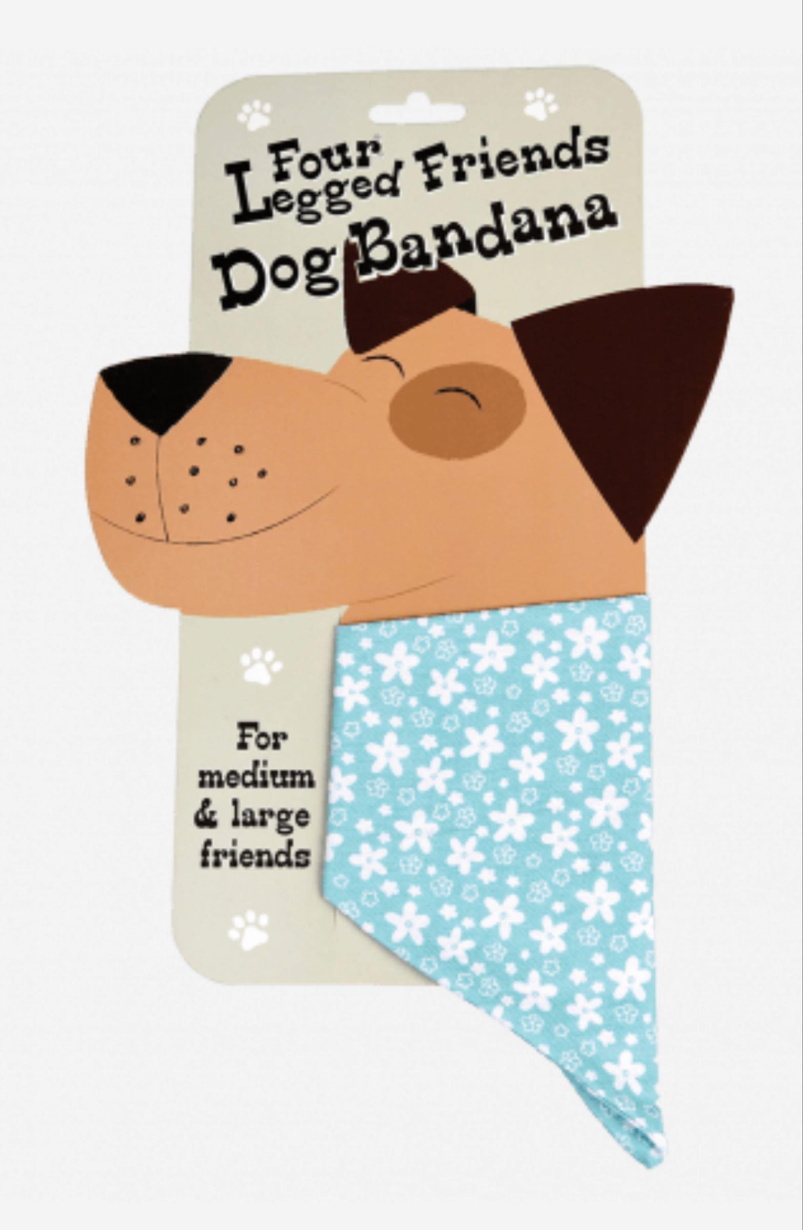 large Turquoise Ditsy Floral Dog Bandana