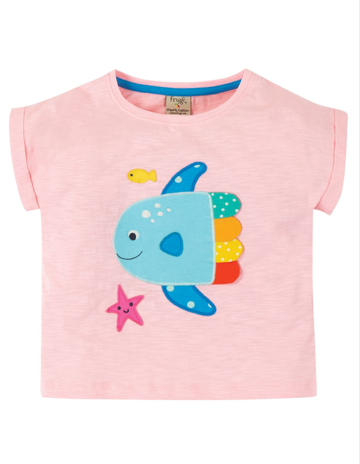 Frugi Sophia Slub T Shirt Soft Pink Fish